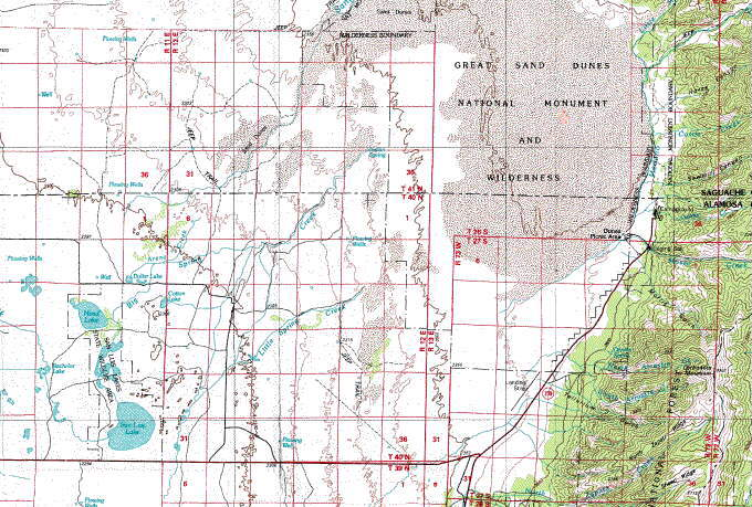 Sand Dunes Colorado Map.Great Sand Dunes Area Topo Map In The San Luis Valley Of Colorado